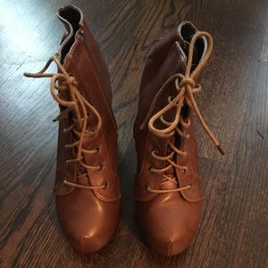 Shoes - Tan color booties. Fits size 5.5/6 women's.